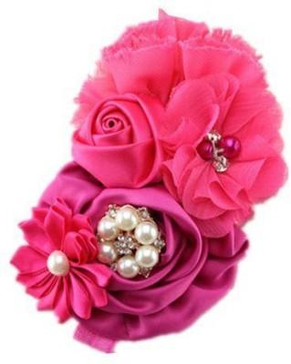 Bellazaara BELLAZAARA Pink Christening Headband Multiflower with Rhinestone Pearls Girls, Hair Band Head Band
