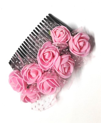 Blossom Pink flower Gajra style comb Hair Clip