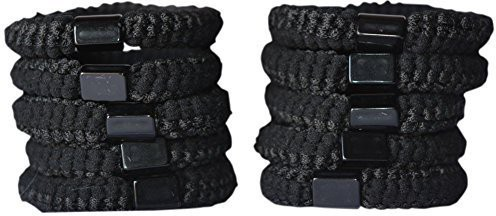 Bzybel Bzybel 10pcs Thick Solid Stretch No-damsge Pony Elastics Ponytail Holders Hair TIes Black Hair Accessory Set(Black)