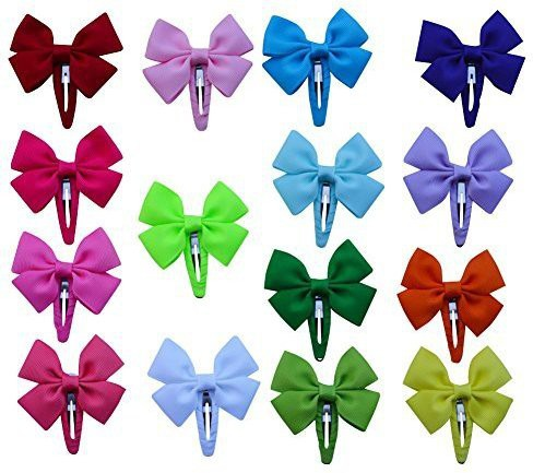"Bzybel Bzybel 2.5"" Boutique Solid Hair Bows Clips Grosgrain Ribbon Headwear for Baby Girls Toddlers Kids Barrettes Hair Clip(Multicolor)"