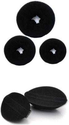 A Shreeparna Donut-Set And Volumizer Hair Accessory Set(Black)