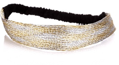 Trinketbag Striped Golden And Silver Mesh Stretchable Hair Band