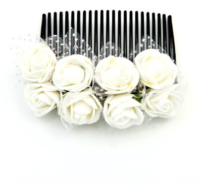 Sanjog Vintage Style White/Creamy 8 Flower Comb For Wedding/Party Hair Clip