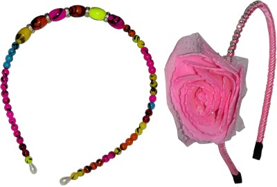 GD Multi Color Pearl with Pink Floral Hair Accessory Set