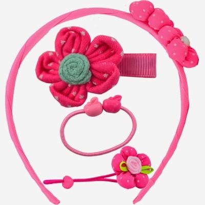 Angel Glitter Dark Pink Twin Flowers Clip Combo Hair Accessory Set