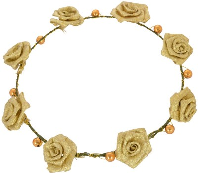 Sanjog Golden Flower And Pearl Tiara/Headwrap For Bride/Girls For Wedding Head Band