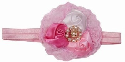 Pink & Blue India Sweet Three Flowers with Diamond Embellished Head Band