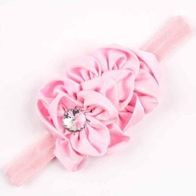 Bellazaara BELLAZAARA Soft Light Pink Satin Flower Rhinestone Newborn Baby Headbands Head Band