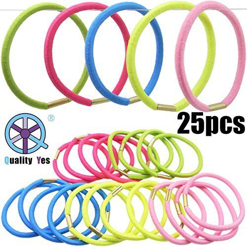 Quality Yes QY 25PCS Bright Color High Super Elasticity Elastic Bands Strong Elastic Hair Tie Hair Accessory Set(Multicolor)
