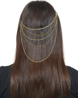 Hair Drama Company Hair Drama Golden Metal Head Chain Hair Chain(Gold)
