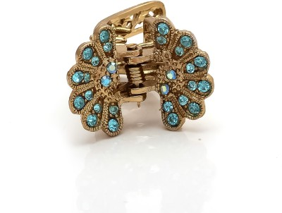 Be You Light Blue Colour Stones Work Butterfly Hair Clip