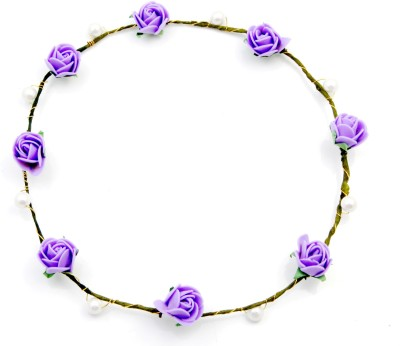 Sanjog Purple And Pearl 8 Flowers Tiara For Girls/Women For Wedding/Party Head Band