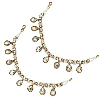 Mehrunnisa Pearls & Crystals Kan Chain Ear For Women Hair Chain(White)