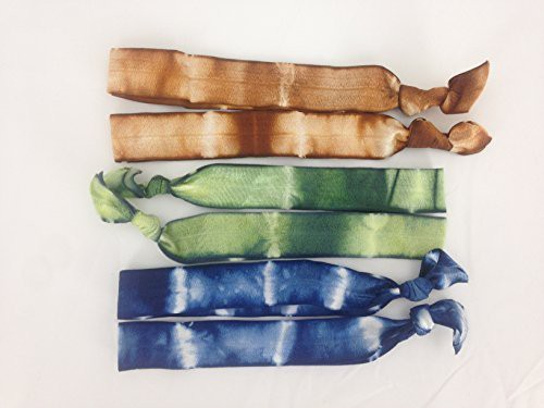 Generic Elastic Headbands - Pack of 6 Hand Dyed Hand Tied Earth Tone Headbands Head Band(Multicolor)