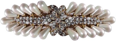 Shreya Collection Cream Colour Hair Barrette Clutcher Clip Alligator Buckle with Faux Pearl - 10008 Back Pin