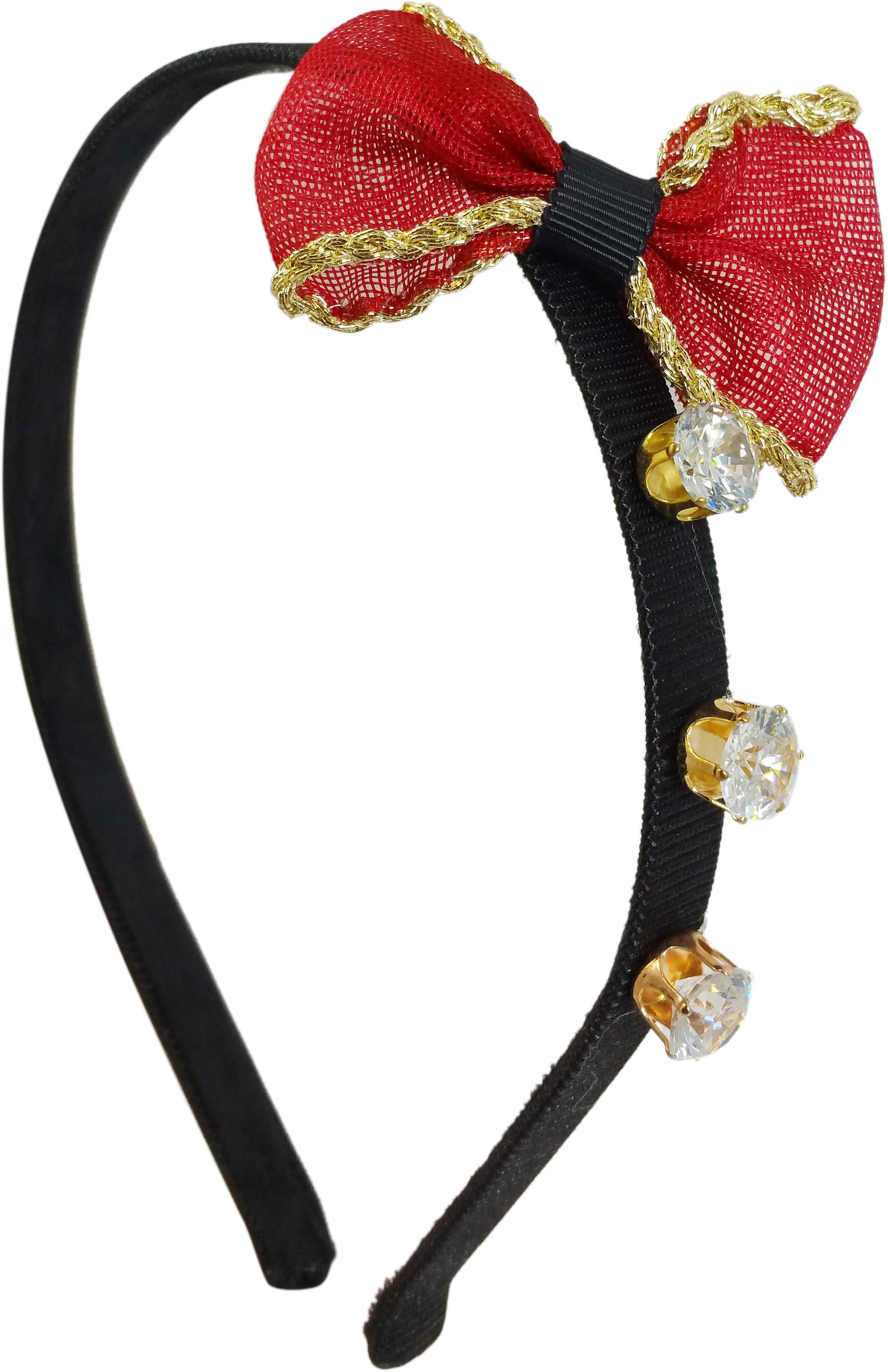 Ammvi Creations Triple CZ Solitaire Bow-Tie Exclusive Party for Women Hair Band(Red)