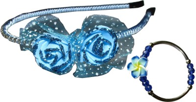 Juhi Blue Floral & Bracelet Hair Accessory Set