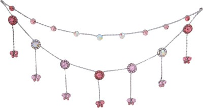 Pink Rose Floral Charm Bridal Hair Chain