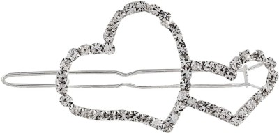 Crunchy Fashion Contemporary Valentine Special Embedded Hearts Hair Pin
