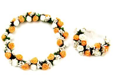 Sanjog Splendid Peach Flower Crown And Hand Tiara/Puff Wrap For Wedding Prom Beach Head Band