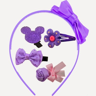 Angel Glitter Purple Rose Mini Clips Combo Hair Accessory Set