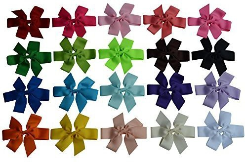 "Bzybel Bzybel 20Pcs Little Girls 5"" Boutique Hair Bow Clips Grosgrain Ribbon Alligator Clips Barrettes Newborn Headbands for Baby Shower Gift Head Band(Multicolor)"