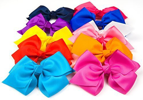 "Bzybel Boutique Little Girls 6"" Big Hair Bows Grosgrain Ribbon Bows Hair Clips Barrettes for Keens Kids Toddlers Newborn Headband Hair Clip(Multicolor)"