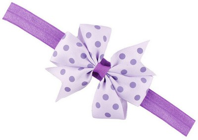 Bellazaara BELLAZAARA Girl Baby Ribbon Flower Purple and Lilac Polka Dots Bow Headband Hair Band Head Band