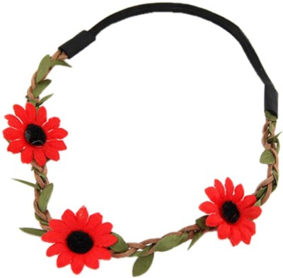 Jewel Touch Rolling Red Flower n Leaf Simple Design Tiara Head Band