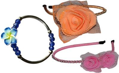 GD Pink & Orange Hairband with Bracelet Hair Accessory Set