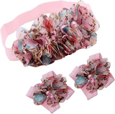 BabyZinnia Newborn Girl Rosette Pearl Hair Accessory Set