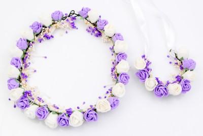 Sanjog Elegant Tiara/Crown And Hand Band/Puff Wrap For Wedding For Bride/Bridesmaid/Birthday Girls Hair Accessory Set