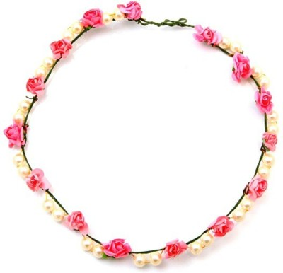 Sanjog Paper Flower And Pearl Tiara/Crown For Wedding Party Beach For Women Girls Head Band