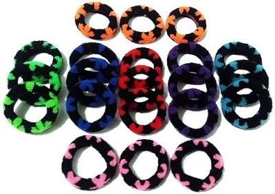 Best & Lowest Soft Dark Multicolor Flower Design Rubber Hair Band - Set Of 21 Pcs. Rubber Band