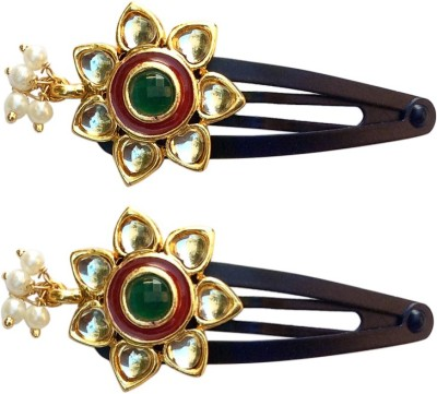 B-Fashionable Kundan Flower Tic Tac Clip