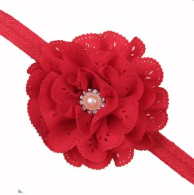 Bellazaara BELLAZAARA Baby Girl Red Eyelet Flower Headband With Pearl Crystal Center Head Band