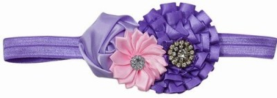 Pink & Blue India Three Flowers with Soft Lace Head Band