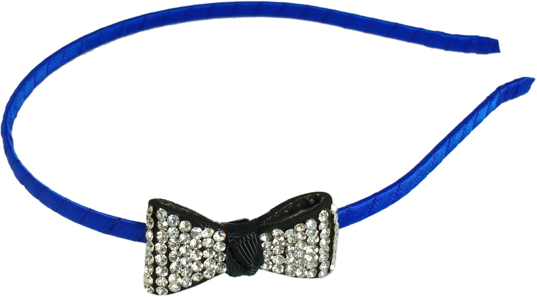 Ammvi Creations CZ Embellished Bow Charm Indigo Sleek for Women Hair Band(Blue)