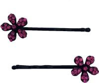 B-Fashionable Pink Rhinestone Flower Hair Pin(Pink, Black)