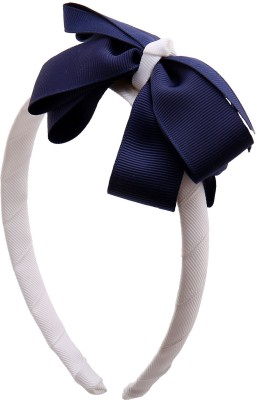 NeedyBee White and Blue Bow for Baby Girls Hair Band