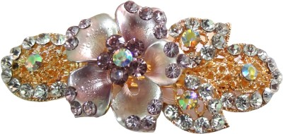 Shreya Collection Fashion Purple and White Colour Stone Studded Hair Clip Back Pin