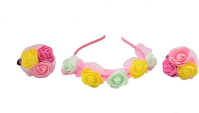 Shopaholic Fashion Rubber And Hair Band Flower Hair Accessory Set