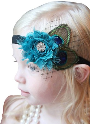 NeedyBee Peacock Feather and Flower Embellishment Baby for Newborn to Girls Head Band