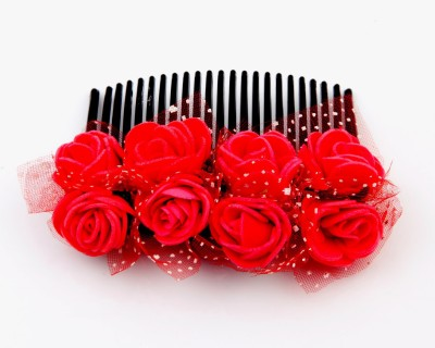 Sanjog Vintage Style Red 8 Flower Comb For Wedding/Party Hair Clip