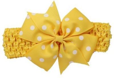 Bellazaara BELLAZAARA Baby Girl Yellow Polka Dot Bowknot on wide Crochet Headband Head Band