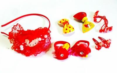 Samyak Red Combo Tic Tac Clip, Hair Band, Rubber Band