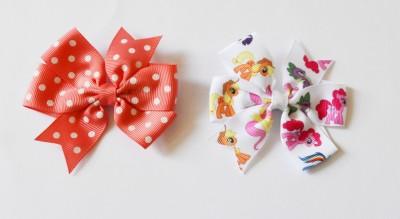 Niyano Pinwheel Girls grosgrain Ribbon Bow Hairclip - Set of 2 (Hair accessories for girls) Hair Clip