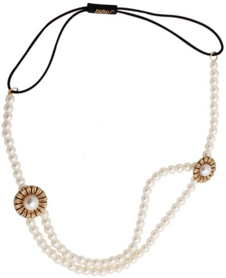 Young & Forever Chic Stylish White Pearls Double Layer Head Band