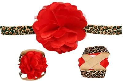 AkinosKIDS Shabby Flower Leopard Hair Accessory Set(Red)