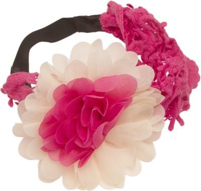 NeedyBee Broad Lace with Chiffon Flowers Head Band